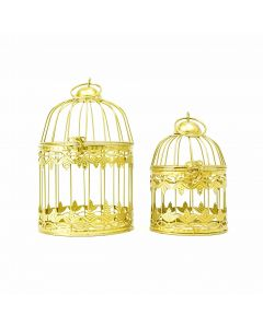 Set of Two Hanging Birdcages - Gold