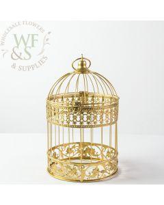 "13"" Decorative Hanging Birdcage - Gold"