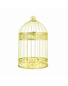 "17"" Hanging Birdcage - Gold"