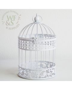 "13"" Hanging Birdcage - White"