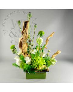 Low Square Ceramic vase with Lip - green/brown