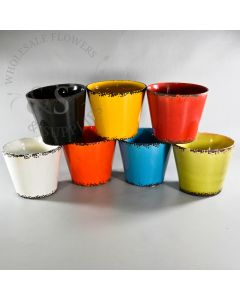 Chipped Ceramic Pot Black,Red, Yellow, Blue, White, Orange