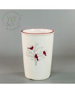 Cream Ceramic Vase Container Birds Decoration