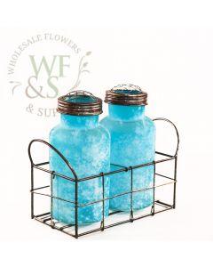 Sky Blue Glass Jars in Metal Cage Holder